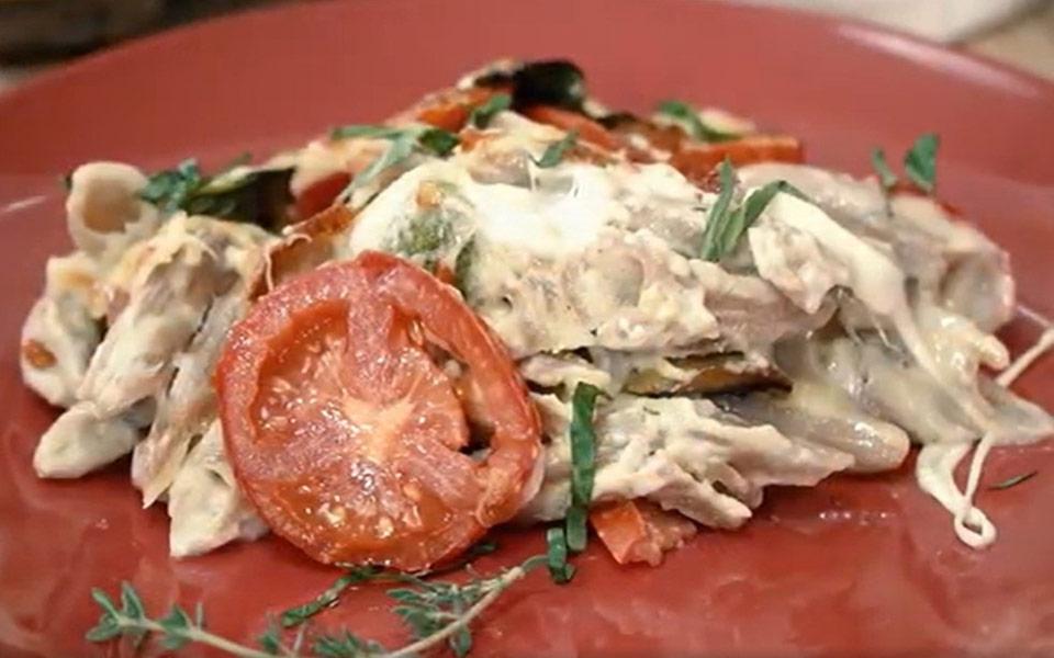 Σουφλέ ζυμαρικών με ψητά λαχανικά